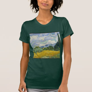 Camiseta Campo de trigo de Van Gogh com ciprestes