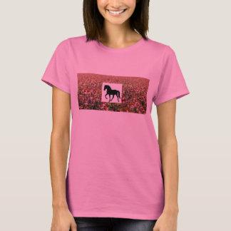 Camiseta Campo roxo de passeio de Coneflower do cavalo de