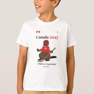 Camiseta Canadá 150 em 2017 varas da madeira do hóquei do