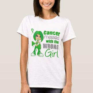 Camiseta Câncer de rim sujado com menina errada Green.png