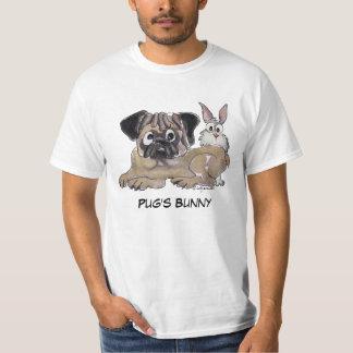 Camiseta Cão bonito dos desenhos animados do coelho do Pug