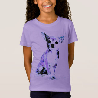 Camiseta Cão bonito roxo do t-shirt da menina