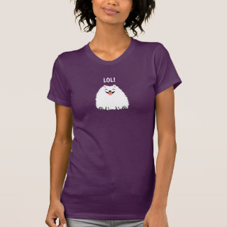 Camiseta Cão branco engraçado LOL dos desenhos animados de