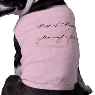 Camiseta Cão da honra que Wedding o meio cor-de-rosa da cam
