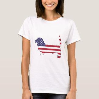 """Camiseta Cão de Basset """"bandeira americana """""""