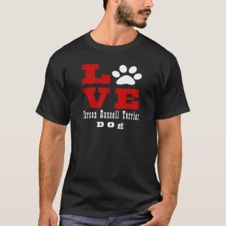 Camiseta Cão Designes de Russell Terrier do Parson do amor
