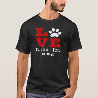 Camiseta Cão Designes de Shiba Inu do amor