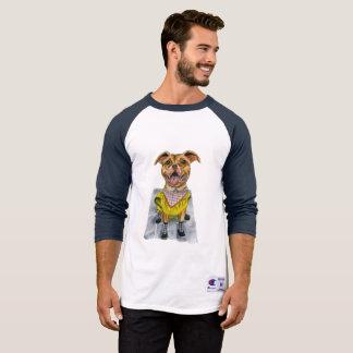 Camiseta Cão do pitbull em uma aguarela do casaco de chuva