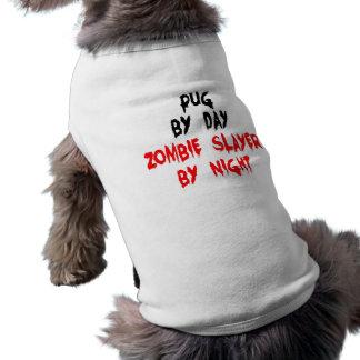 Camiseta Cão do Pug do assassino do zombi