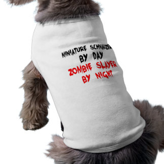 Camiseta Cão do Schnauzer diminuto do assassino do zombi