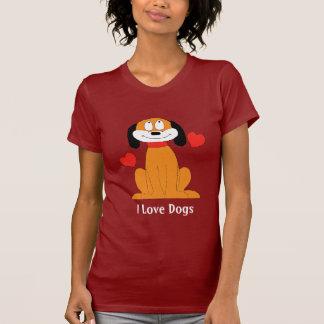 Camiseta Cão dos desenhos animados com corações