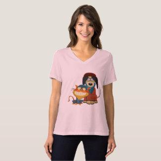 Camiseta Cão e gato bonito e engraçado do hipster