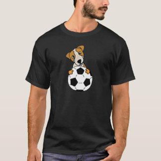 Camiseta Cão engraçado de Jack Russell que joga o futebol
