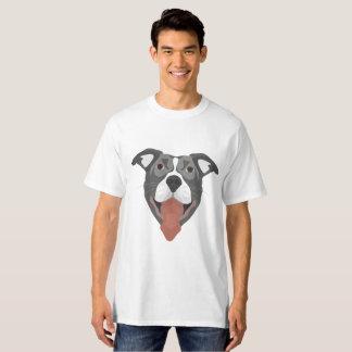 Camiseta Cão Pitbull de sorriso da ilustração