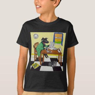 Camiseta Cão que aprecia o café e as rosquinhas