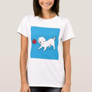 Camiseta Cão que joga com uma bola