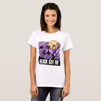 Camiseta Capas gato preto do Short do t-shirt das mulheres,