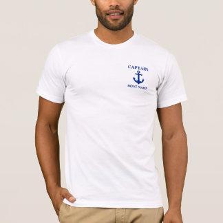 Camiseta Capitão náutico Barco Nome Âncora