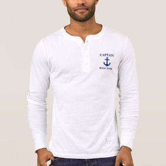 Camiseta Capitão náutico Barco Nome Âncora Henley