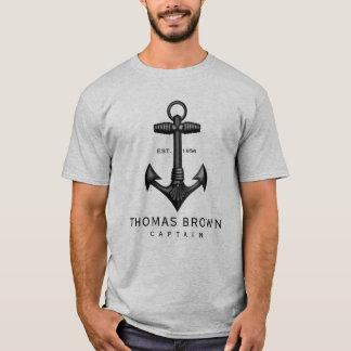 Camiseta Capitão preto do barco da âncora do ferro fundido