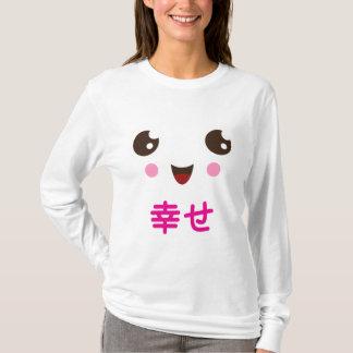 Camiseta Cara bonito do kawaii com o kanji cor-de-rosa