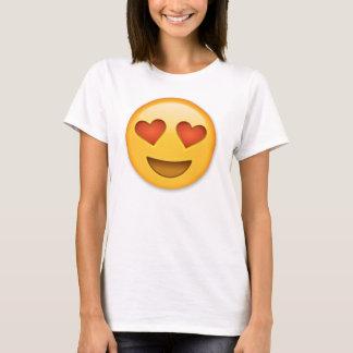 Camiseta Cara de sorriso com o emoji Coração-Dado forma dos