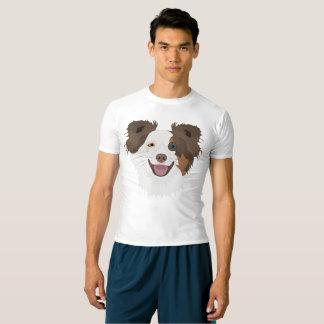 Camiseta Cara feliz border collie dos cães da ilustração