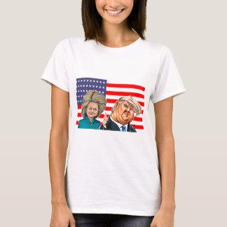 Camiseta Caricatura do trunfo e da Hillary