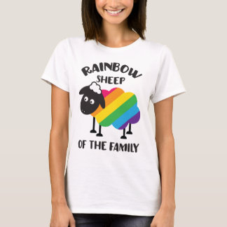 Camiseta Carneiros do arco-íris do orgulho da família LGBT