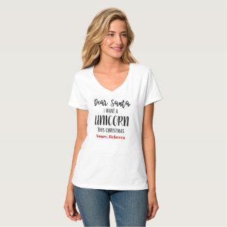 Camiseta Caro papai noel eu quero um Tshirt do Natal do