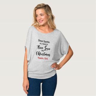 Camiseta Caro papai noel todo eu quero o amor verdadeiro