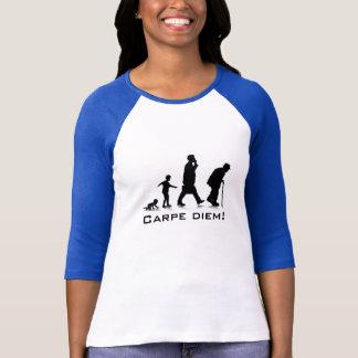 "Camiseta ""Carpe Diem!"" Senhoras 3/4 de Raglan da luva"