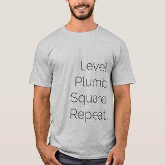 Camiseta Carpintaria quadrada a prumo nivelada SS cinzenta