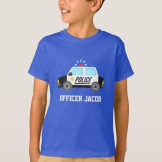 Camiseta Carro de polícia clássico com a sirene para miúdos