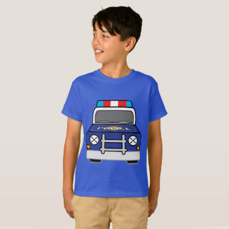 Camiseta Carro-patrulha azul corajoso da polícia