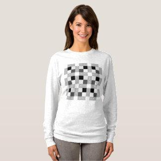 Camiseta Carta/t-shirt longo básico luva das mulheres