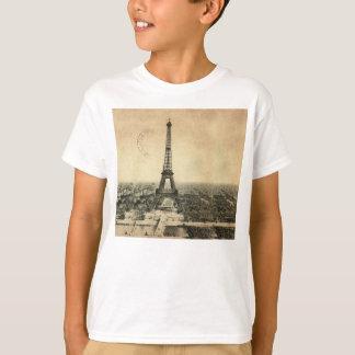 Camiseta Cartão raro do vintage com a torre Eiffel em Paris