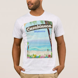 Camiseta Casablanca Marrocos, poster vintage romântico