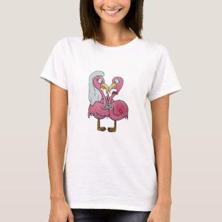 Camiseta Casal cor-de-rosa lunático do flamingo do recem