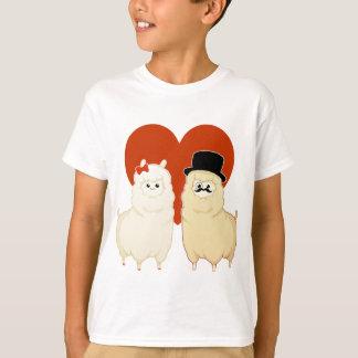 Camiseta Casal extravagante bonito da alpaca
