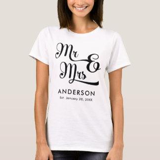 Camiseta Casamento ou Sr. e Sra. do aniversário. Seu