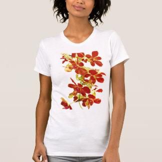 Camiseta Cascata de orquídeas alaranjadas
