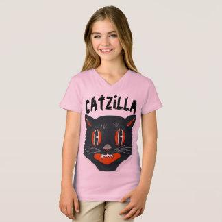 Camiseta CATZILLA, t-shirt engraçados do gato dos miúdos