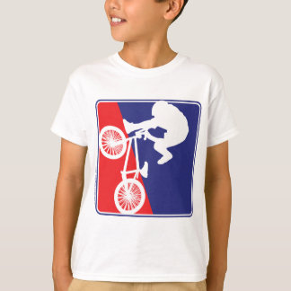 Camiseta Cavaleiro de BMX em branco e azul vermelhos