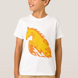 Camiseta Cavalo ateado fogo chamativo da chama