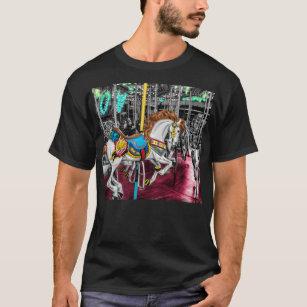 27932f27d7d Camiseta Cavalo colorido do carrossel no carnaval