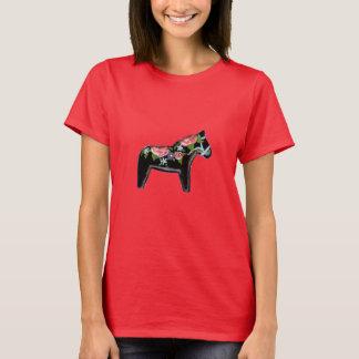 Camiseta Cavalo de Dala da rosa vermelha