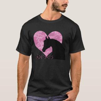 Camiseta Cavalo do coração (camo cor-de-rosa)