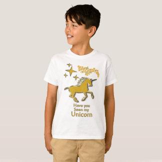 Camiseta Cavalo do pônei do unicórnio do ouro com estrelas