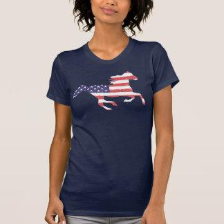 Camiseta Cavalo livre Running que caracteriza a bandeira